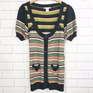 Nanette Lepore Stripe Shirt Sleeve Cardigan Small